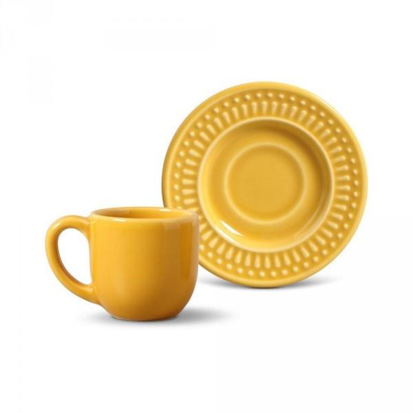 jogo 4 xícaras café mostarda pires roma