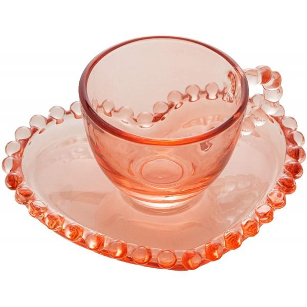 jogo 4 xícaras café coração pearl rosa