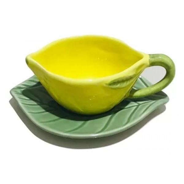 jogo 6 xícaras cafe lemon com pires