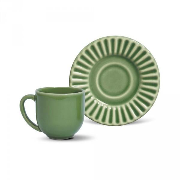 jogo 6 xícaras café verde sálvia com pires plissê