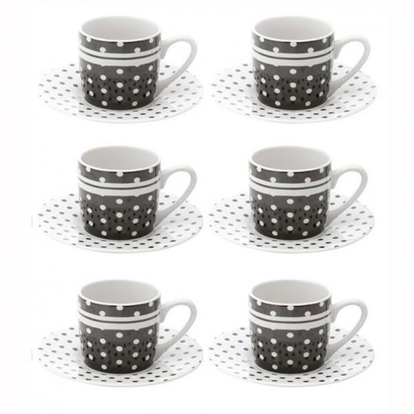 jogo 6 xícaras café black dots