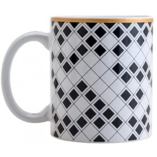 caneca de porcelana argos preta e branco 330 ml