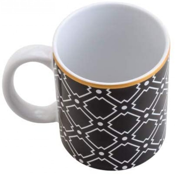 caneca de porcelana alexandria preta e dourada 330 ml
