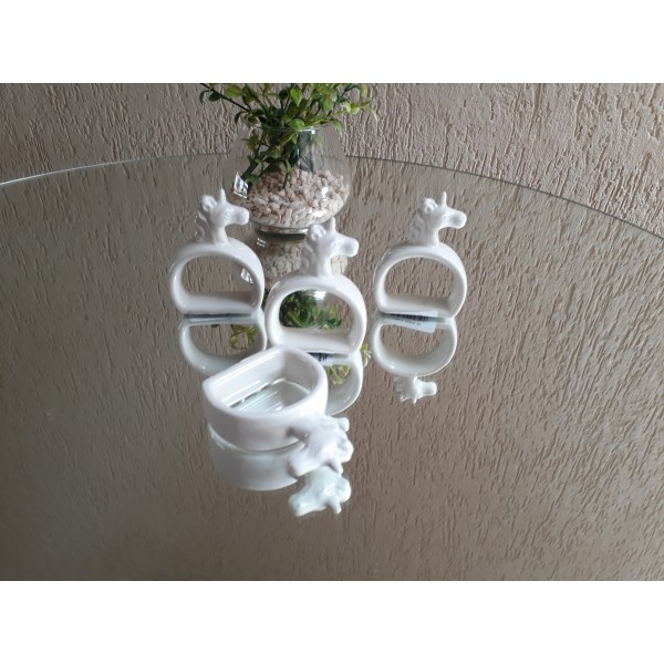 kit porta guardanapo em cerâmica unicórnio
