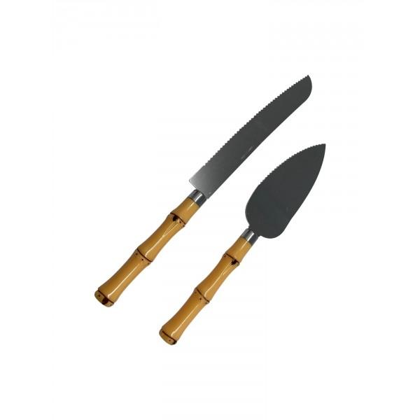 conjunto espátula para bolo bambu