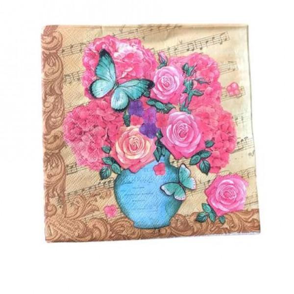 guardanapo de papel flor e borboleta