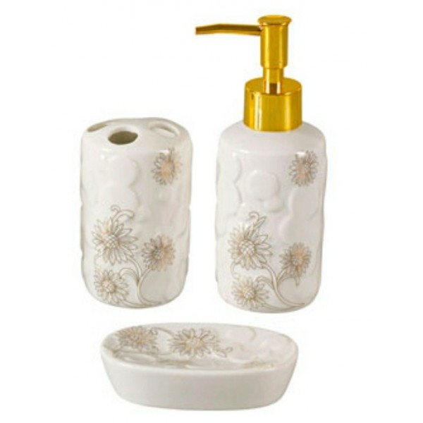 kit lavabo em cerâmica girassol 03 peças