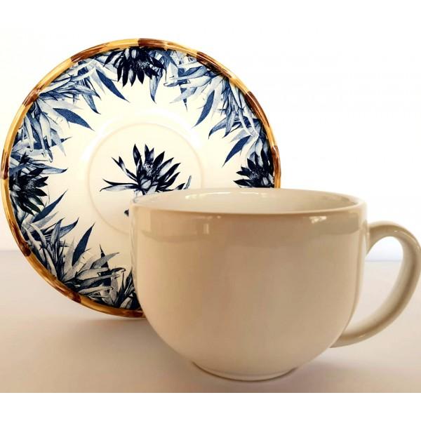 jogo 6 xícaras chá bambu